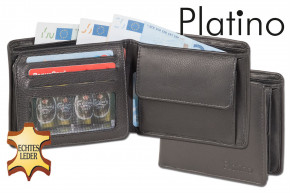 Platino - Flat Landscape wallet made from the finest cow leather with first-class quality in black