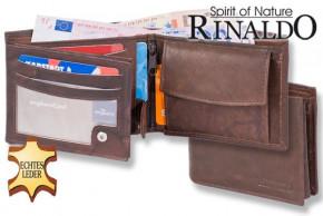 Rinaldo® Querformat Riegelbörse aus glattem, naturbelassenem Rindsleder in Dunkelbraun
