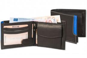 Rinaldo® Querformat Riegelbörse mit Protecto® RFID-Blocker Schutz aus glattem, naturbelassenem Rindsleder in Schwarz mit blauem Seitenstreifen