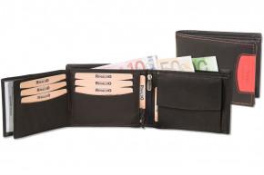 Rinaldo® Querformat Riegelbörse mit Protecto® RFID-Blocker Schutz aus glattem, naturbelassenem Rindsleder in Schwarz mit Seitenstreifen in Rot