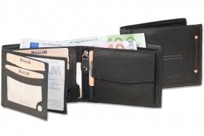 Rinaldo® - Querformat Riegelbörse im neuen Design aus glattem, naturbelassenem Rinderleder in Schwarz
