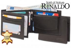 Rinaldo® Riegelgeldbörse mit XXL Super-Coin Hartgeldfach aus glattem, naturbelassenem Rindsleder in Schwarz