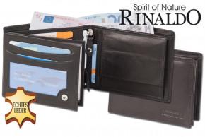 Rinaldo® Riegelgeldbörse mit XXL Quick-Coin Hartgeldfach aus glattem, naturbelassenem Rindsleder in Schwarz