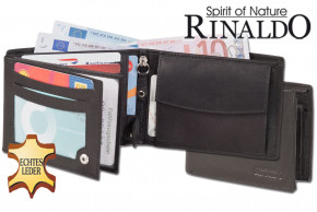 Rinaldo® Wallet Double Coin hardmoney compartment, made from smooth, untreated leather in black