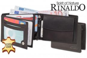 Rinaldo® Double-Coin Riegelgeldbörse mit unterteiltem Hartgeldfach aus glattem, naturbelassenem Rindsleder in Schwarz