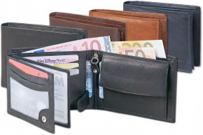 Rinaldo® - Landscape wallet, made from from smooth, untreated leather in dark-brown