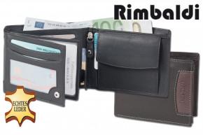 Rimbaldi® Riegelgeldbörse im Querformat aus feinem Rind-Nappaleder in Schwarz mit brauner Applikation und RFID-Ausleschutz