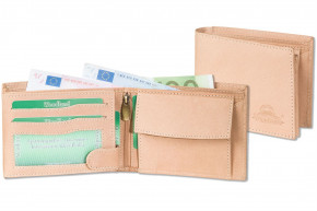 Woodland® Riegelgeldbörse im Querformat aus naturbelassenem Büffelleder in Cognac