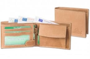 Woodland® Riegelgeldbörse im Querformat mit dem Protecto® RFID-Blocker Schutz aus naturbelassenem Büffelleder im in Cognac