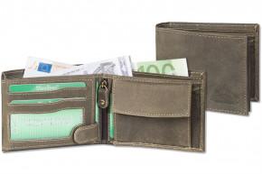 Woodland® Riegelgeldbörse im Querformat mit dem Protecto® RFID-Blocker Schutz aus naturbelassenem Büffelleder in Dunkelbraun/Taupe