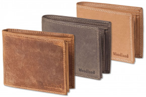 Woodland®- Wallet in landscape from natural lbuff-eather in the color of cognac