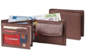 Platino - Riegelgeldbörse im Querformat aus feinstem Rindsleder in First-Class Qualität in Dunkelbraun