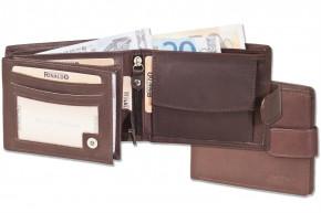 Rinaldo® Querformat-Geldbörse mit Innen- und Außenriegel aus naturbelassenem Rindsleder in Dunkelbraun