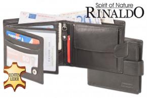 Rinaldo® Querformat-Geldbörse mit Innen- und Außenriegel aus naturbelassenem Rindsleder in Schwarz