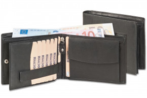 Rinaldo® Horizontal bars wallet with space for 12 credit cards from smooth, untreated leather with