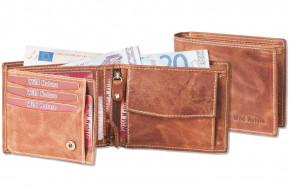 Wild Nature® Riegelgeldbörse im Querformat mit Protecto® RFID-Blocker aus naturbelassenem Büffelleder im Vintage Look/Cognac