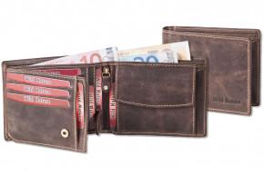 Wild Nature® Loop-Wallet in natural buffalo leather in vintage look / dark-brown