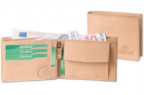 Woodland® Hochwertige Lederbörse mit dem Protecto® RFID-Blocker Schutz im Querformat aus naturbelassenem Büffelleder in Creme