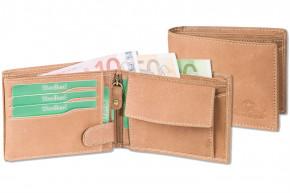 Woodland® Hochwertige Lederbörse mit dem Protecto® RFID-Blocker Schutz im Querformat aus naturbelassenem Büffelleder in Cognac