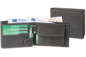 Woodland® Hochwertige Lederbörse mit dem Protecto® RFID-Blocker Schutz im Querformat aus naturbelassenem Büffelleder in Anthrazit