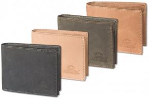 Woodland® - Lederbörse mit dem Protecto® RFID-Blocker Schutz im Querformat aus naturbelassenem Büffelleder
