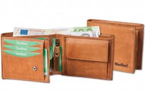 Woodland® Riegelgeldbörse im Querformat aus OIL-PULL UP Rindsleder in Cognac