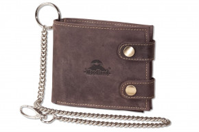 Woodland - biker chain wallet with chains in landscape from natural, soft buffalo leather in dark-br