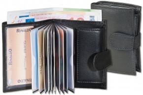 Rinaldo® Super-Kompakte Geldbörse mit XXL-Kreditkartentaschen für insgesamt 13 Kreditkarten, aus naturbelassenem Rindsleder in Schwarz