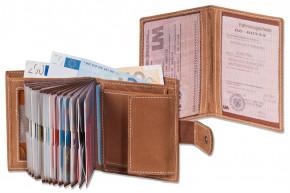 Woodland® Super-Kompakte Geldbörse mit XXL-Kreditkartentaschen für 18 Karten aus naturbelassenem Büffelleder + KFZ-Scheinetui in Braun