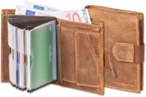 Woodland® Super-Kompakte Geldbörse mit XXL-Kreditkartentaschen für 18 Karten aus ölgewaschenem Rindsleder im Vintage-Look in Cognac