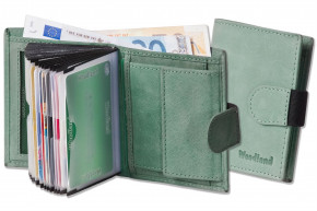 Woodland® Super-Kompakte Geldbörse mit XXL-Kreditkartentaschen für 18 Karten aus naturbelassenem Büffelleder in Minze