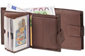 Platino - Super-Kompakte Geldbörse mit XXL-Kreditkartentaschen für 16 Karten aus naturbelassenem Rindsleder in Dunkelbraun