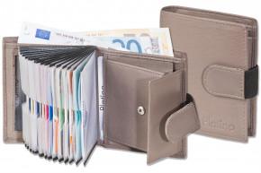 Platino - Supermoderne Geldbörse mit 16 Klarsicht-Kreditkartentaschen und aus sehr hochwertigem, naturbelassenem Rindsleder in taupe