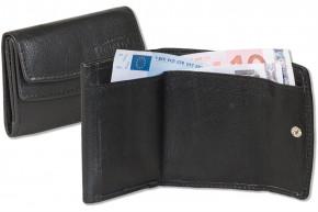 Rinaldo® Kleine Geldbörse mit dem Protecto® RFID/NFC-Blocker Schutz, Hartgeldfach + Geldscheinfach aus weichem Rind Nappaleder in Schwarz