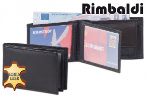 Rimbaldi® Mini-Geldbörse mit Hartgeldfach aus naturbelassenem Rindsleder in Schwarz