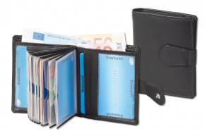 Rimbaldi® Super-Kompakte Geldbörse mit RFID/NFC Blocker und Platz für bis zu 20 Kreditkarten aus weichem Nappa-Rindsleder in Schwarz
