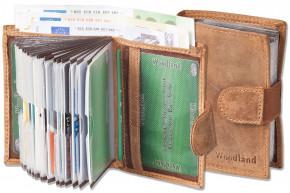 Woodland® Super-Kompakte Geldbörse mit XXL-Kreditkartentaschen für 18 Karten aus ölgewaschenem Rindsleder im Vintage-Look/Cognac