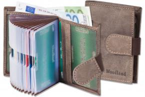 Woodland® Super-Kompakte Geldbörse mit XXL-Kreditkartentaschen für 18 Karten aus naturbelassenem Büffelleder in Dunkelbraun/Taupe