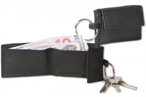 Rinaldo® Micro-Geldbörse im Querformat mit Automatik-Schlüsselring aus weichem Rind-Nappaleder in Schwarz