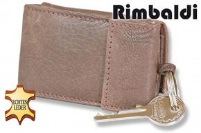 Rimbaldi®Micro-Geldbörse im Querformat mit Schlüsselring aus weichem, naturbelassenem Rindsleder in Dunkelbraun
