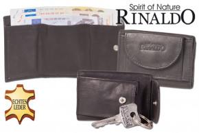 Rinaldo® Mini Geldbörse mit Geldscheintaschen + Schlüsseltasche mit Kette und Schlüsselring aus glattem, naturbelassenem Rindsleder in Schwarz