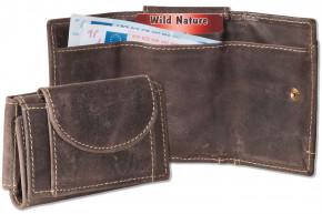 Wild Nature® Mini Geldbörse mit Geldscheintaschen + Schlüsseltasche mit Kette und Schlüsselring aus glattem, naturbelassenem Büffelleder in Braun