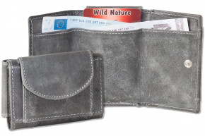 Wild Nature® Mini Geldbörse mit Geldscheintaschen + Schlüsseltasche mit Kette und Schlüsselring aus geöltem, naturbelassenem Büffelleder in Anthrazit
