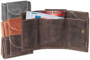Wikld Nature® Mini wallet with billfolds + key pocket with chain and key ring made from smooth, untr