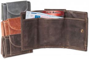 Wild Nature® Mini Geldbörse mit Geldscheintaschen + Schlüsseltasche mit Kette und Schlüsselring aus geöltem, naturbelassenem Büffelleder