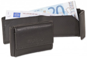 Platino - Micro-Geldbörse im Querformat aus weichem, naturbelassenem Rindsleder in Schwarz