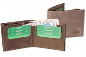 Woodland® Flache Geldbörse aus naturbelassenem Büffelleder in Dunkelbraun/Taupe
