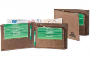 Flache Geldbörse aus naturbelassenem Büffelleder in Dunkelbraun/Taupe von Woodland®