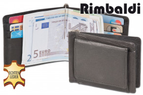 Rinaldo® Small purse with dollar-clip and foreign coin case made from soft natural cow leather in Black