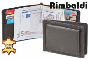 Rinaldo® Geldflipper mit stabilem Geldkllip und Außen-Hartgeldfach aus feinem, naturbelassenem Rindsleder in Schwarz